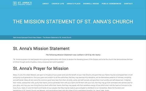 Screenshot of About Page stannanola.org - Saint Anna's Episcopal Church New Orleans   –  The Mission Statement of St. Anna's Church - captured Dec. 1, 2016