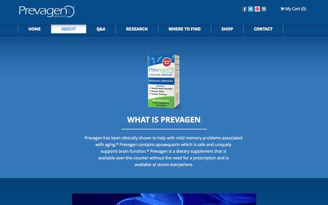 Screenshot of About Page prevagen.com - Who We Are : The company behind Prevagen® - captured May 21, 2017