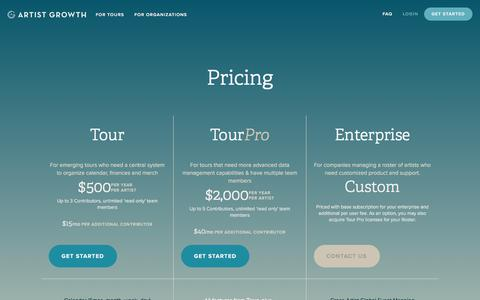 Screenshot of Pricing Page artistgrowth.com - Pricing — Artist Growth - captured Jan. 20, 2018