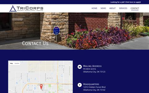 Screenshot of Contact Page tricorps.com - Contact | TriCorps - captured July 7, 2018
