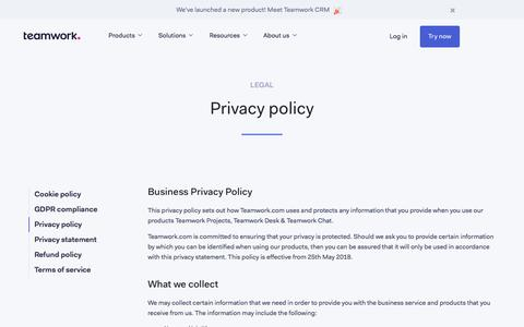 Screenshot of Privacy Page teamwork.com - Privacy policy - captured July 20, 2019