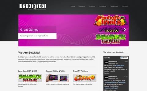 Screenshot of Home Page betdigital.net - Betdigital Ltd: betting on a digital future - captured Oct. 5, 2014