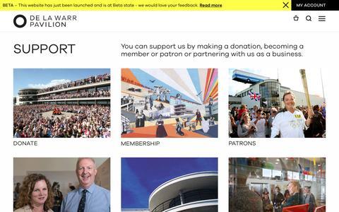 Screenshot of Support Page dlwp.com - Support - DLWP, The De La Warr Pavilion, Bexhill, East Sussex - captured Nov. 24, 2016