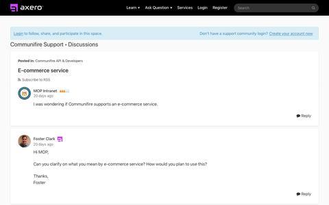 Screenshot of Developers Page axerosolutions.com - E-commerce service | Communifire Support - captured Dec. 10, 2019