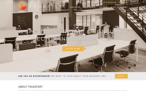 Screenshot of Home Page truestart.co.uk - TrueStart - A Specialist Retail & Consumer Sector Innovation Hub - captured Oct. 9, 2014