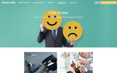 Screenshot of Case Studies Page dropmysite.com - Dropmysite - captured July 3, 2016