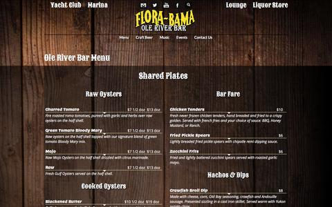 Screenshot of Menu Page florabamayachtclubcatering.com - Ole River Bar Menu | Florabama - captured March 5, 2016