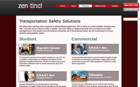 Screenshot of Products Page zen-tinel.com - Zen-tinel | Products | Transportation Safety Solutions - captured Dec. 11, 2016