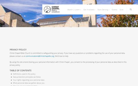 Screenshot of Privacy Page ccbcfamily.org - Privacy Policy | Christ Chapel Bible Church | A Church Without Walls | Fort Worth, TX | Willow Park, TX - captured Sept. 28, 2018