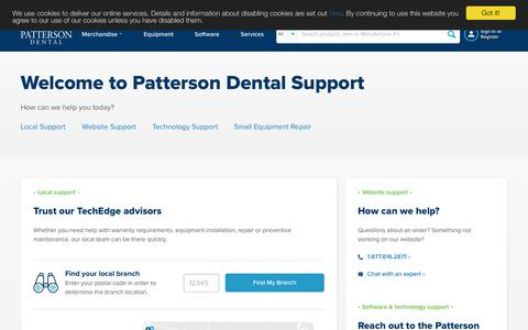 Screenshot of Support Page pattersondental.com - Dental Supplies, Equipment, Technology, and Service | Patterson Dental - captured May 3, 2019