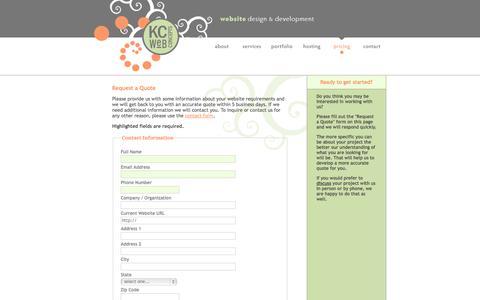 Screenshot of Pricing Page kcwebconcepts.com - New Orleans Website Design, WordPress Website Design and Development, KC Web Concepts - captured Sept. 30, 2014