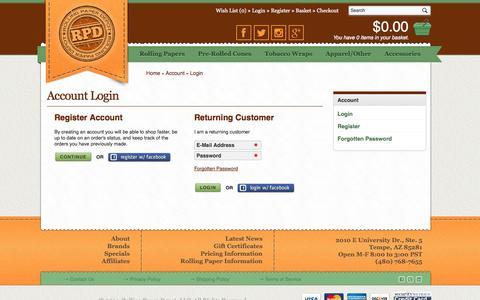 Screenshot of Login Page rollingpaperdepot.com - Account Login - captured Sept. 25, 2014