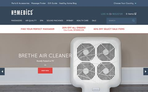 Screenshot of Home Page homedics.com - HoMedics, Inc. - Massage, relaxation and wellness products  | HoMedics USA - captured July 3, 2015