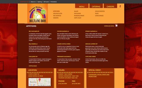 Screenshot of Menu Page beltlinebar.com - Appetizers | Beltline Bar - captured March 3, 2016