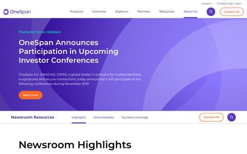 Screenshot of Press Page onespan.com - News   Onespan - captured Nov. 30, 2019