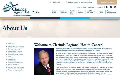 Screenshot of About Page clarindahealth.com - About Us | Clarinda Regional Health Center - captured Sept. 28, 2018