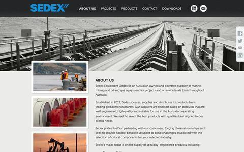 Screenshot of About Page sedex.com.au - Sedex Equipment - Marine, Mining & Oil and Gas Equipment - captured Oct. 7, 2014