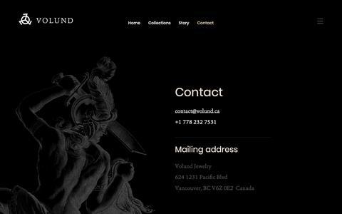 Screenshot of Contact Page volund.ca - Contact | Volund - captured June 17, 2019