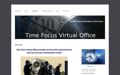 Screenshot of Services Page timefocusvo.com - Services | Time Focus Virtual Office - captured Oct. 7, 2014