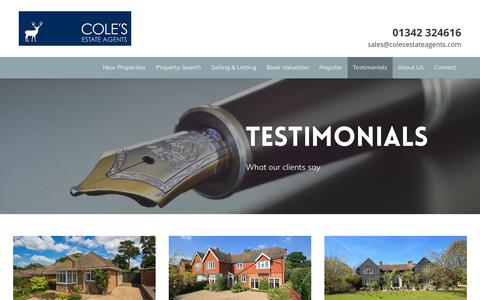 Screenshot of Testimonials Page colesestateagents.com - Testimonials - Cole's Estate Agents - captured July 20, 2018