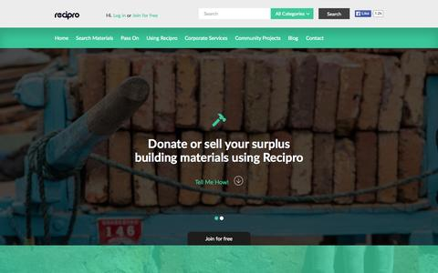 Screenshot of Home Page recipro-uk.com - Recipro | Free Building Materials | Recycling | Builders Surplus Supply | Construction Trade - captured Aug. 13, 2015