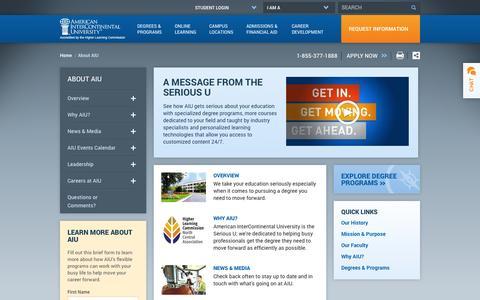 Screenshot of About Page aiuniv.edu - About American InterContinental University (AIU) - captured Sept. 19, 2014