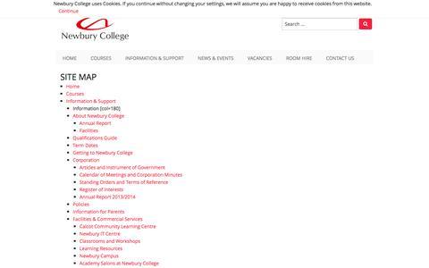 Screenshot of Site Map Page newbury-college.ac.uk captured Dec. 14, 2016
