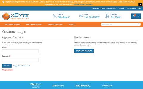 Screenshot of Login Page xbyte.com - Customer Login - captured Dec. 22, 2018
