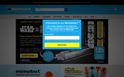 Screenshot of Home Page mimoco.com - Mimoco: Makers of the Coolest Designer USB Flash Drives - captured Jan. 15, 2015