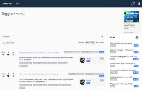 Screenshot of Menu Page codeply.com - Menu examples and snippets - captured Jan. 26, 2017