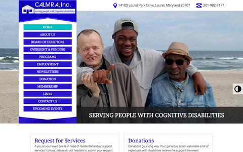 Screenshot of Home Page calmra.org - Community-Based Residential Care in MD | CALMRA, Inc. - captured Sept. 26, 2018