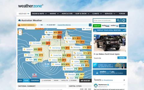 Screenshot of Home Page weatherzone.com.au - Weather - Australia 7 day forecasts and weather radar - Weatherzone - captured May 17, 2019