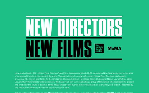 Screenshot of Home Page newdirectors.org - NDNF 2017 Splash | Film Society of Lincoln Center - captured Feb. 12, 2017