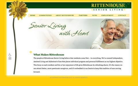 Screenshot of Home Page rittenhousesl.com - Rittenhouse Senior Living - Senior Living, Assisted Living and Memory Care - captured Oct. 7, 2014