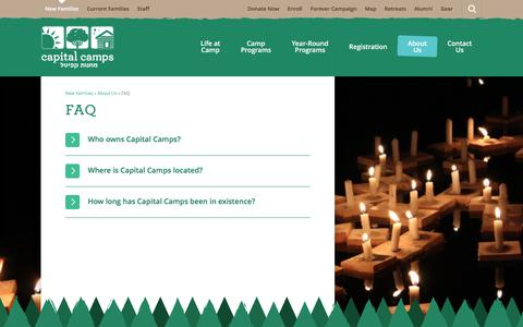 Screenshot of FAQ Page capitalcamps.org - FAQ  |  Capital Camps - captured Dec. 6, 2015