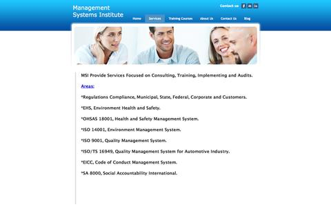 Screenshot of Services Page msiisos.com - Services - Management Systems Institute - captured Feb. 4, 2016