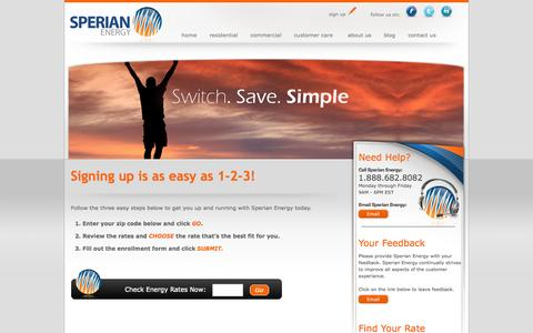 Screenshot of Signup Page sperianenergy.com - Sperian Energy - Sign up  for one of our rate plans & start saving today - captured Oct. 7, 2014