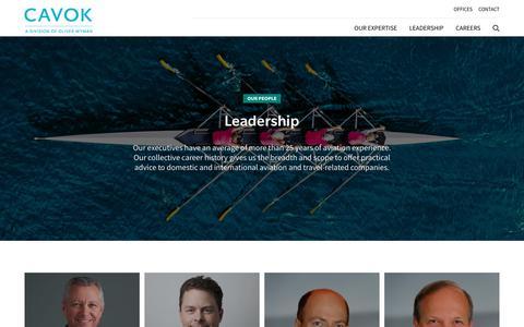 Screenshot of Team Page cavokgroup.com - Leadership - captured July 14, 2018