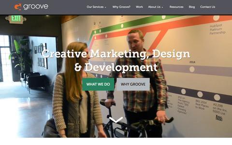 Screenshot of Home Page gotgroove.com - Magento Gold Partner | Hubspot Platinum Partner | Groove: Creative Marketing, Design & Development - captured Sept. 22, 2015
