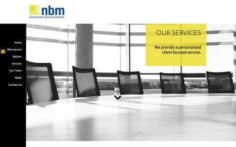 Screenshot of Services Page nbm.bz - nbm Construction Cost Consultancy, 25 years of experience, cost management, employers agent, personalised client care. - captured June 12, 2017