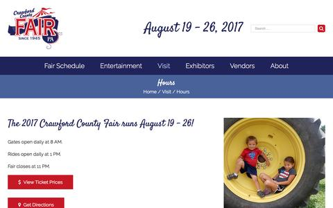 Screenshot of Hours Page crawfordcountyfairpa.com - Hours | Plan Your Visit | Crawford County Fair | Meadville, PA - captured April 23, 2017
