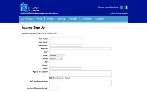 Screenshot of Signup Page calsac.org - Agency Sign Up — CALSAC - captured Oct. 1, 2014