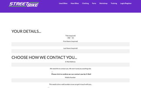 Screenshot of Contact Page streetbike.co.uk - Contact Us   Streetbike - captured Oct. 20, 2018