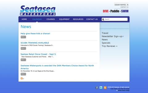 Screenshot of Press Page seatasea.com - News | Seatasea Watersports Center | The Midwest's Source for Scuba, Snorkeling, Kayaking, Canoeing, Swimming and Triathlon - captured Oct. 18, 2018
