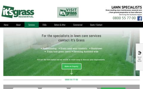 Screenshot of Services Page itsgrass.co.nz - Ready lawn Auckland Lawn hydroseeding - captured April 12, 2017