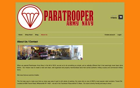 Screenshot of About Page paratrooperarmynavy.com - About Us / Contact – Paratrooper Army Navy - captured Sept. 30, 2014