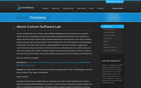 Screenshot of About Page customsoftwarelab.com - About Custom Software Lab - Web | Mobile | Software Development Company - captured Sept. 24, 2014