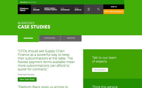 Screenshot of Case Studies Page platformblack.com - Invoice trading case studies | Platform Black - captured Sept. 19, 2014