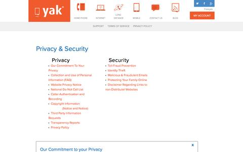 Screenshot of Privacy Page yak.ca - Yak - Yak Privacy Policy - Canada - captured Nov. 18, 2016