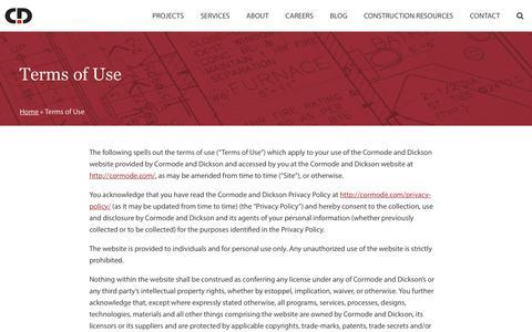 Screenshot of Terms Page cormode.com - Terms of Use | Cormode & Dickson - captured Sept. 29, 2018